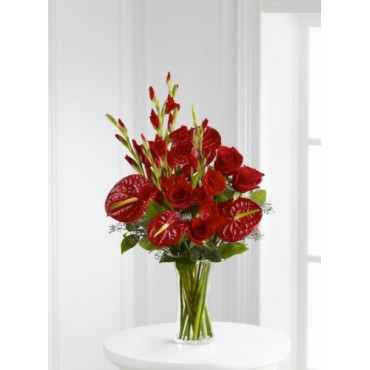 Rich red roses, gladiolus and anthurium