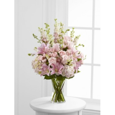 Soft pink and oriental lilies vase