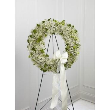 Delicate baby's breath and ivy wreath